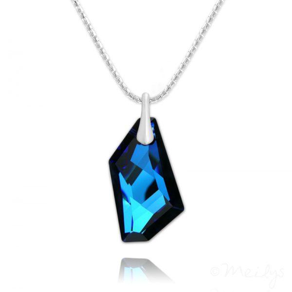 De-Art Silver Necklace with Swarovski Crystal Bermuda Blue