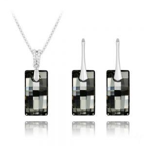 Urban Silver Jewelry Set with Swarovski Crystal - Silver Night
