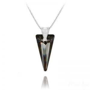 Spike 28mm Vermeil Necklace with Swarovski Crystal Silver Night