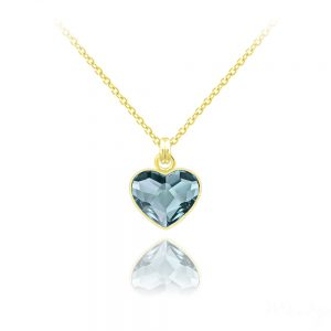 Tiny Heart 24K Yellow Gold Plated Silver Necklace with Swarovski Crystal - Denim Blue