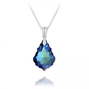 Barqoue Sterling Silver Necklace with Swarovski Crystal – Heliotrope