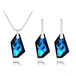 De-Art Silver Jewelry Set with Swarovski Crystal Bermuda Blue