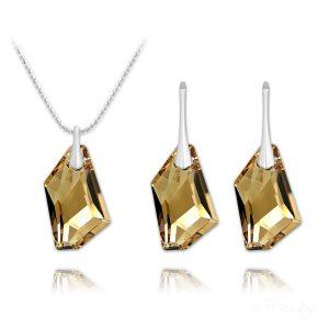 De-Art Silver Jewelry Set with Swarovski Crystal - Golden Shadow